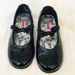 Black Dress Shoes with Crystal Hearts - Girls 11.5